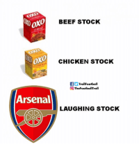 Arsenal, Beef, and Memes: XO  0  BEEF STOCK  0  CHICKEN STOCK  fTrollFootball  TheFootballTroll  Arsenal  LAUGHING STOCK Arsenal - The gift that keeps on giving. https://t.co/kmSHkyqI7y