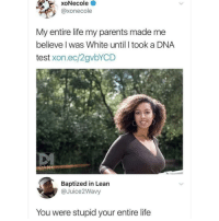 Lean, Life, and Memes: xoNecole  @xonecole  My entire life my parents made me  believe l was White until I took a DNA  test xon.ec/2gvbYCD  Baptized in Lean  @Juice2Wavy  You were stupid your entire life If you're not following @memezar you are seriously missing out 😂