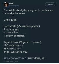 Lazy, Prison, and Power: Xoxo  Follow  @Prison4Trump  The intellectually lazy say both parties are  basically the same.  Since 1965  Democrats (25 years in power):  3 indictments  1 conviction  1 prison sentence.  Republicans (28 years in power):  120 indictments  89 convictions  34 prison sentences  @realdonaldtrump is not done, yet  8:23 PM 20 Aug 2018 Exactly