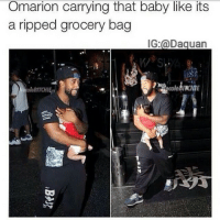 Baby, It's Cold Outside, Funny, and Omarion: Omarion carrying that baby like its  g a ripped grocery bag  IG: a Daguan  cole BIACHIE  oloBITCHI 😂😂