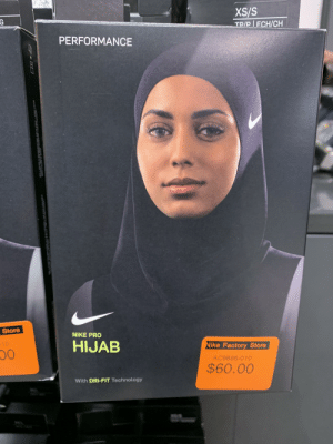 Nike, Technology, and Pro: XS/S  TR/P ECH/CH  G  PERFORMANCE  Store  NIKE PRO  HIJAB  Nike Factory Store  10  AC9686-010  $60.00  With DRI-FIT Technology Imagine spending 60 bucks on this...astaghfirullah