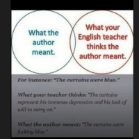 "English Teacher: what What your  the  English teacher  author  thinks the  meant.  author meant.  For instance: ""The curtains were  blue.""  What your teacher thinks: ""The curtains  represent his immense depression and his lack of  will to carry on.  What the author meant: ""The curtains were  fucking blue."""
