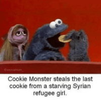 cookie monster: @ xxcrushium  Cookie Monster steals the last  cookie from a starving Syrian  refugee girl