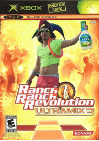 Xbox, Game, and Content: Xxeox  ONLY ON  XBOX  ONLINE-ENABLED  NTSC  Ranch  Ranch  evoUGOMm  ULTRAMIX3  EVERYONE 10+  CONTENT RATED BY  ESR B  Game Experience May  Change During Online Play  KONAMI
