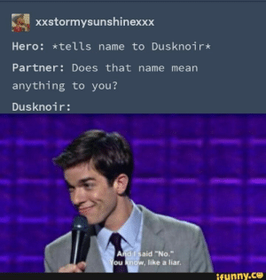 ": xXstormysunshinexxx  Hero: *tells name to Dusknoir*  Partner: Does that name mean  anything to you?  Dusknoir:  And I said ""No.""  You know, like a liar.  ifunny.co"