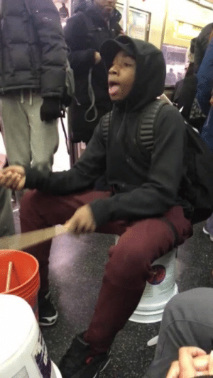 Bones, Love, and Subway: xxsweethoneycocainexx:  black-to-the-bones:   NYC Teen went viral with his bucket banging mashup of hits and classics. He is a self taught artist who brings joy for free, making people smile on their way home! This is why black people are amazing. We can make something incredible out of buckets! He is spreading positivity and creativity when black people need support so much and it pays off! He is an epitome of black excellence and inspiration. Let's make him famous! SOURCE   Absolutely love this.
