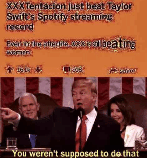 Dank, Memes, and Target: XxXTentacionjust beat Tayior  Swift'S Spotify Streaming  recoro  Even in the after itexxxisstillbea ting  wome  0  You weren't supposed to do that Wait a sec by Ri1020 MORE MEMES