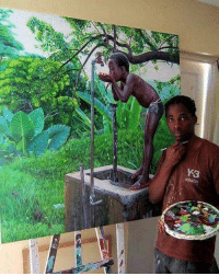 Beautiful art by Jamaican realism painter Elton Senior... Jamaica 🇯🇲: Y 3  adidas Beautiful art by Jamaican realism painter Elton Senior... Jamaica 🇯🇲