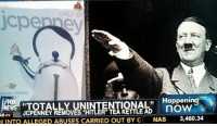 """Nas, Hitler, and Jcpenney: Y AT  ICHAEL GRAVES  TOTALLY UNINTENTIONAL""""  JCPENNEY REMOVES """"HITLER"""" TEA KETTLE AD  Happenin  b noW  46 PT  NAS  3,460.34  INTO ALLEGED ABUSES CARRIED OUT BY G <p>You have to look at that pretty creatively to get Hitler out of it&hellip;</p>"""