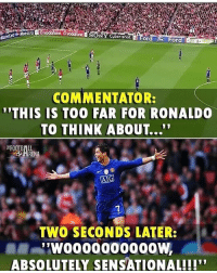 """Football, Memes, and Sensational: Y Cybershot  COMMENTATOR:  THIS IS TOO FAR FOR RONALDO  TO THINK ABOUT...""""  7  ヘ. TWO SECONDS LATER:  ABSOLUTELY SENSATIONAL!!! What A Goal 👏 🔻FREE FOOTBALL APP -> LINK IN OUR BIO! Credit : @thefootballarena"""