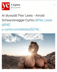 Arnold Schwarzenegger, Family, and Flexing: Y Cymro  @Y Cymro  Ar dry wydd Flexi Lewis Arnold  Schwarzenegger Cymru  @Flex Lewis  @S4C  y-cymro.com/teledu i, 5214/ To all my Welsh fans, friends & family. I have had the green light from the network to finally brake this great news to you all. - **Coming soon to @s4cymru April 21st** S4C Documentary on myself going into 2016 @mrolympiallc from home life - training and defending the title. (Welsh) - Thank you to @avantimedia and @s4cymru, for the filming and edit on this, Robin Chang & Weider- AMI team for the @mrolympiallc footage, @guitar4hire for extended footage. Massive thank you to @juleslewisjones for pushing this all the way! This program will be in Welsh but will be available in subtitles. - This has been a long time in the making, and we are already working on other UK projects with another network, which will air before this years Olympia. - FlexLewis S4c Documentary wales CymruAmByth