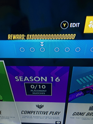 Work, Game, and Overwatch: Y) EDIT  REWARD: OXOO00000000000000  SEASON 16  O/10  PLACEMENT  MATCHES  COMPETITIVE PLAY  GAME BR  COMPETE AGAINST OTHER PLAYERS  AND WORK YOUR WAY UP THE RANKS.  N RULESINEW  ARCADE.  FIND THAT PERFECTM  CREATE ON  i Uh oh overwatch