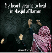 Beautiful, Blessed, and Memes: y heart yearns to beat  in Masjid alHaram  @islam4everyone Ya'Allah Subhana'Wa'Tala, My heart yearns to beat in Masjid al'Haram, My eyes want to feast upon the sight of your Ka'bah, My lips want to kiss Hajar al'Aswad, My hands want to beg You with all Your beautiful Names, My face wants to feel the gentle breeze of Arafah, My feet want to walk upon the blessed sands of Arafah, My body wants to rest under the starry night sky of Arafah, My tongue wants to proclaim Labbayka Allaahumma labbayk, labbayka laa shareeka laka labbayk, inna al-hamd wa'l-ni'mata laka wa'l-mulk, laa shareeka lak, My beloved Rabb Forgive us, have Mercy on us and bestow upon us Your ibadi the best of health, wealth and Tawfiq to be amongst the Hujjaj, Ya'Malik, invite us to your Way, keep us on the Straight Path and allow us to walk in the footsteps of ibraheem (AS), AMEEN YA'RABB AL'AMIN!!!