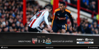 Memes, 🤖, and Griffin: y NUFC  Yong  14  FULLTIME  BRENTFORD  I-2AL NEWCASTLE UNITED  NUFCCOUK  PUMAN Wonga  SPORTSDIRECT.coM  f newcastleunited FULL TIME Brentford 1 Newcastle United 2  Substitute Daryl Murphy's header earns the Magpies all three points at Griffin Park.  Match reaction to come at https://www.nufc.co.uk/. #NUFC