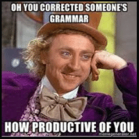 Spelling police are out on Facebook 😂👏✋: OH YOU CORRECTED SOMEONES  GRAMMAR  HOW PRODUCTIVE OF YOU  noraidor net Spelling police are out on Facebook 😂👏✋