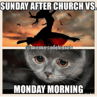 "SUNDAY AFTER CHURCH VS  @mennesofchunech  MONDAY MORNING repost from @memesofchurch! mondaymorning afterchurch Don't backslide from the spiritual ""highs"" of yersterday and don't be weary of well doing. BaptistMemes"