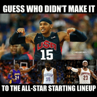 KD not a starter?! Double tap if your favorite player is starting!: GUESS WHO DIDN'T MAKE IT  15  @NBAMEMES  CAVALIERS  23  TO THE ALL-STAR STARTING LINEUP KD not a starter?! Double tap if your favorite player is starting!