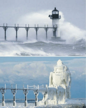 A Michigan lighthouse, before and after a winter storm.: YA A Michigan lighthouse, before and after a winter storm.