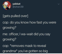 """Grandma, Mask, and How: yabkat  @ohen39  [gets pulled over]  cop: do you know how fast you were  growing?  me: officer, I wa-wait did you say  growing?  cop: """"removes mask to reveal  grandma* you've gotten so big"""