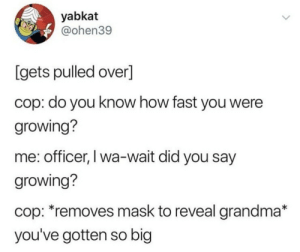 Instead of a ticket, you get fresh baked cookies via /r/wholesomememes https://ift.tt/2tWq30p: yabkat  @ohen39  [gets pulled over]  cop: do you know how fast you were  growing?  me: officer, I wa-wait did you say  growing?  cop: *removes mask to reveal grandma*  you've gotten so big Instead of a ticket, you get fresh baked cookies via /r/wholesomememes https://ift.tt/2tWq30p
