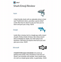 Apple, Cute, and Emoji: yag-i  Shark Emoji Revie  Apple  A big friendly shark with an adorable shine in their  eye! Traditional colors, possibly a great white?  Looks like they're about to ask you how you've  been and give you a hug. 10/10  Google  Looks like a meany, but is a tough guy with a heart  of gold. Pretty shade of blues, like a blue shark!  Not as detailed as Apple, but still ready to do  business. Will beat up anyone who hurts you and  give you a kiss. 10/10  Microsoft  113  A bold lil fella (pun intended) who ends up  getting into pretty risky situations! Cute face of  shock, yet curiosity and wonder. Very simple look  of a not-so-simple great white. A good baby. 10/10