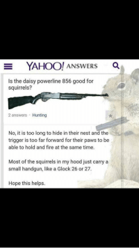 Fire, The Hood, and Hunting: YAHOO! ANSWERS a  Is the daisy powerline 856 good for  squirrels?  2 answers Hunting  No, it is too long to hide in their nest and the  trigger is too far forward for their paws to be  able to hold and fire at the same time.  Most of the squirrels in my hood just carry a  small handgun, like a Glock 26 or 27.  Hope this helps. Squirrels In The Hood