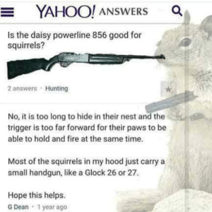 Fire, Memes, and Hunting: YAHOO! ANSWERS a  Is the daisy powerline 856 good for  squirrels?  2 answers Hunting  No, it is too long to hide in their nest and the  trigger is too far forward for their paws to be  able to hold and fire at the same time.  Most of the squirrels in my hood just carry a  small handgun, like a Glock 26 or 27  Hope this helps.  G Dean 1 year ago That is how they roll in my hood via /r/memes https://ift.tt/2nq3v5b