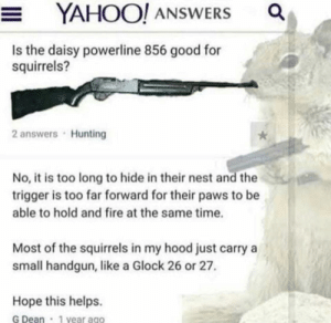gotta go for a handgun: YAHOO! ANSWERS  Is the daisy powerline 856 good for  squirrels?  2 answers Hunting  No, it is too long to hide in their nest and the  trigger is too far forward for their paws to be  able to hold and fire at the same time.  Most of the squirrels in my hood just carry a  small handgun, like a Glock 26 or 27.  Hope this helps.  G Dean 1 year ago gotta go for a handgun