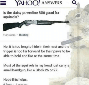 me irl: YAHOO! ANSWERS  Is the daisy powerline 856 good for  squirrels?  2 answers Hunting  No, it is too long to hide in their nest and the  trigger is too far forward for their paws to be  able to hold and fire at the same time.  Most of the squirrels in my hood just carry a  small handgun, like a Glock 26 or 27.  Hope this helps.  G Dean  1 vear ago  o me irl