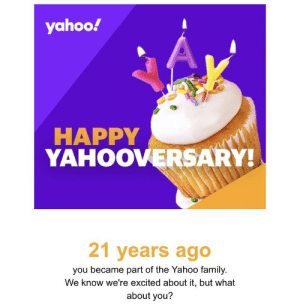 Yahoo just wanted to remind me how freaking ancient I am!: Yahoo just wanted to remind me how freaking ancient I am!