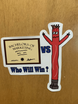 I made some stickers: Yalk  BACHELORS OF  MARKETING  VS  Ap  Who Will Win? I made some stickers