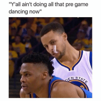 """Lmao oh hell naw 💀💀💀💀: """"Y'all ain't doing all that pre game  dancing now  II  EN STA Lmao oh hell naw 💀💀💀💀"""
