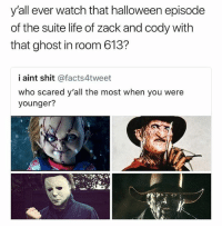 Halloween, Life, and Memes: y'all ever watch that halloween episode  of the suite life of zack and cody with  that ghost in room 613?  i aint shit @facts4tweet  who scared y'all the most when you were  younger? I watched that shit on Halloween. Haven't slept since 😳 • Follow @savagememesss for more posts daily