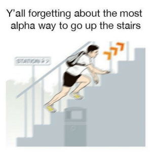Dank Memes, Alpha, and Yall: Y'all forgetting about the most  alpha way to go up the stairs