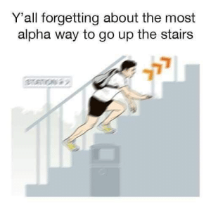 Shit, Dank Memes, and Alpha: Y'all forgetting about the most  alpha way to go up the stairs g shit