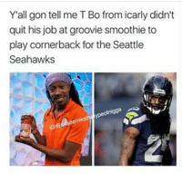 he also became 2chainz😳: Y'all gon tell me T Bo from icarly didn't  quit his job at groovie smoothie to  play cornerback for the Seattle  Seahawks  ofnigga he also became 2chainz😳