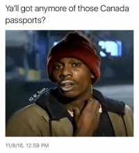 Fire, Memes, and Canada: Yall got anymore of those Canada  passports?  11/9/16, 12:59 PM Follow @vodkalana who's already in Canada deriving fire quality memes