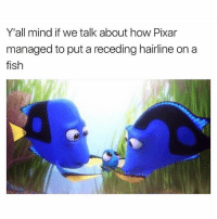 Hairline, Memes, and Pixar: Y'all mind if we talk about how Pixar  managed to put a receding hairline on a  fish 😂