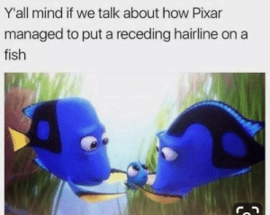 Dank, Hairline, and Memes: Y'all mind if we talk about how Pixar  managed to put a receding hairline on  fish Yall mind? by reesemichael713 MORE MEMES