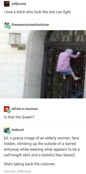 Chapter 10: We Learn Why You Should Never Mess With The Queen Of England: yallpussy  i love a bitch who look like she can fight  theawesomeadventurer  alfred-e-neuman  Is that the Queen?  teaboot  [id: a grainy image of an elderly woman, face  hidden, climbing up the outside of a barred  entryway while wearing what appears to be a  calf-length skirt and a tasteful lilac blazer]  She's taking back the colonies  Source: yallpussy Chapter 10: We Learn Why You Should Never Mess With The Queen Of England