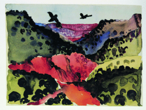 "yan-wo: ""Canyon With Crows,"" 1917. Georgia O'Keeffe Museum.: yan-wo: ""Canyon With Crows,"" 1917. Georgia O'Keeffe Museum."