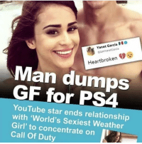 This nigga is an L: Yanet Garcia O  tamVanetGaroa  Heartbroken  Man dumOS  GF for PS4  YouTube star ends relationship  with 'World's Sexiest Weather  Girl' to concentrate on I  Call Of Duty This nigga is an L