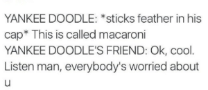 meirl: YANKEE DOODLE: *sticks feather in his  cap* This is called macaroni  YANKEE DOODLE'S FRIEND: Ok, cool  Listen man, everybody's worried about meirl