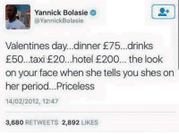 Drinking, Everton, and Period: Yannick Bolasie  @Yannick Bolasie  Valentines day. dinner 75. drinks  £50..taxi E20...hotel 200... the look  on your face when she tells you shes on  her period... Priceless  14/02/2012, 12:47  3,680  RETWEETS 2,892  LIKES Yannick Bolasie. Everton's record transfer, ladies and gentlemen.
