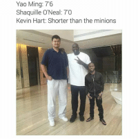 Dying af lmao! 😂😂: Yao Ming: 7'6  Shaquille O'Neal: 70  Kevin Hart: Shorter than the minions Dying af lmao! 😂😂