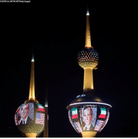 Kuwait Towers in Kuwait City were illuminated Saturday with the American flag and portrait of former President George H.W. Bush as a tribute to the 41st president of the United States, who passed away Friday.: YASSER AL-ZAYYAT/AFP/Gatty Images Kuwait Towers in Kuwait City were illuminated Saturday with the American flag and portrait of former President George H.W. Bush as a tribute to the 41st president of the United States, who passed away Friday.
