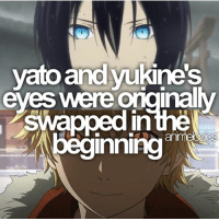 Anime, Facts, and Memes: yato and kines  eyes were naly  Swapped in the  inning QOTD: Yato or Yukine? | Follow @animee for Anime Facts | ⭐ . . Cr. @animelogics