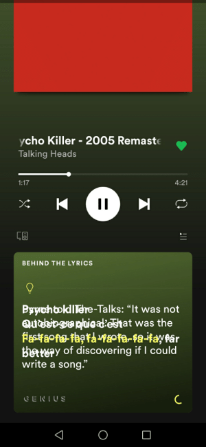 "Lyrics, A Song, and Yes: ycho Killer - 2005 Remaste  Talking Heads  1:17  4:21  II  K  CB  BEHIND THE LYRICS  Byoh tokdTere-Talks: ""It was not  QUdeo ga puieadlestat was the  Asraoftaatagpta-fa-itayfar  Batery of discovering if I could  write a  song.""  CENTUS  C Ummm... Yes"