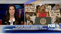"""TayaKyle reacted to the backlash First Lady MelaniaTrump received for reciting the Lord's Prayer before her husband's rally on Saturday. """"She spoke her mind and her heart … I wish more people in government would speak their mind and their heart,"""" Kyle told @foxandfriends.: YCKS  LACKS  FOR TRUMP  RUMP  2020 COM  .COM  BLA AS  FOR 2020 CON  Not  FOX  FLOTUS FAITH UNDER FIRE  MELANIA ATTACKED FOR LEADING RALLY IN PRAYER friendS TayaKyle reacted to the backlash First Lady MelaniaTrump received for reciting the Lord's Prayer before her husband's rally on Saturday. """"She spoke her mind and her heart … I wish more people in government would speak their mind and their heart,"""" Kyle told @foxandfriends."""