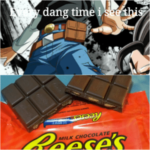 Reese's, Chocolate, and Time: ydang time i see this  NTAINS 2  OIL (COCOA BU  rTHIN; LEAVENING (SODIUM B  HOR  ATEY  EQUIPMENT THAT PROCESSES ALMONDS  AL  Reeses  WITH REESE'S  FILLED  Reayase's  MILK CHOCOLATE  ASA  Reses  Peeses C H O C O L A T E